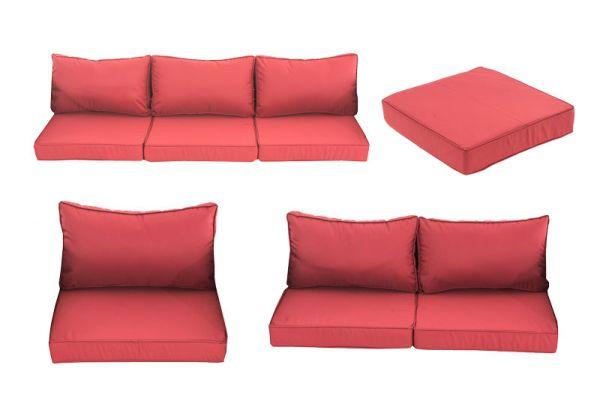 13er-Set Kissenbezüge Mandal  rubinrot