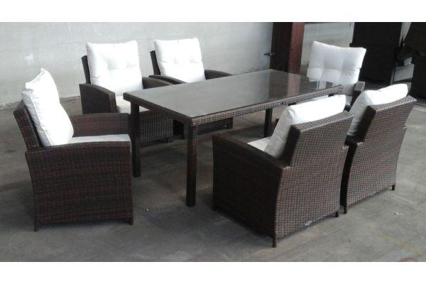 #G Tisch Florenz + 6 Sessel Fisolo-braun-meliert-cremeweiß
