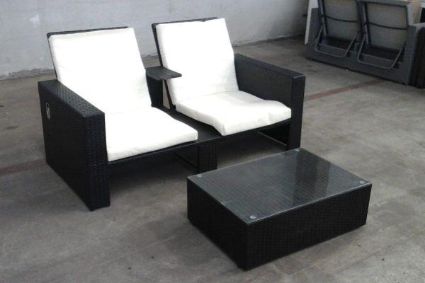 #g Sofa Ravenna + Tisch-schwarz-cremeweiß