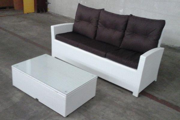 #G Fisolo 3er Sofa + Tisch Tibera weiß-terrabraun