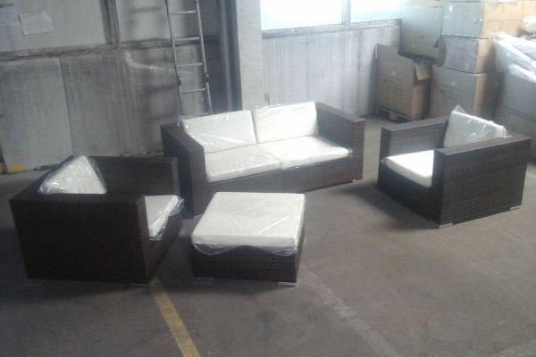 #H 2x Ecksofa + 2x Sessel + Hocker 3-1-1-braun-meliert-cremeweiß