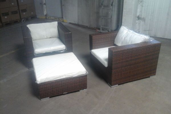 #H 2x Sessel  + Hocker 3-1-1-braun-meliert-cremeweiß