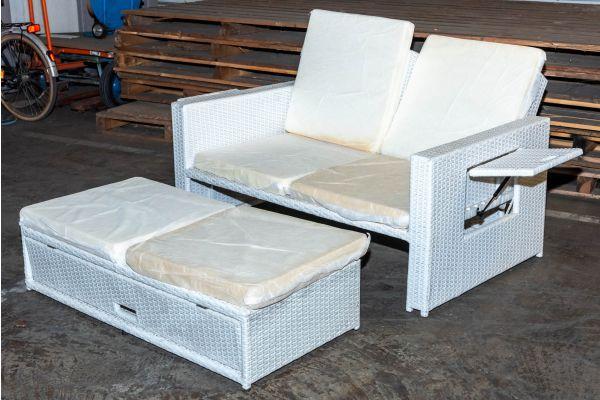 #HBM 2146: Sofa Ancona weiß Flachrattan-weiß