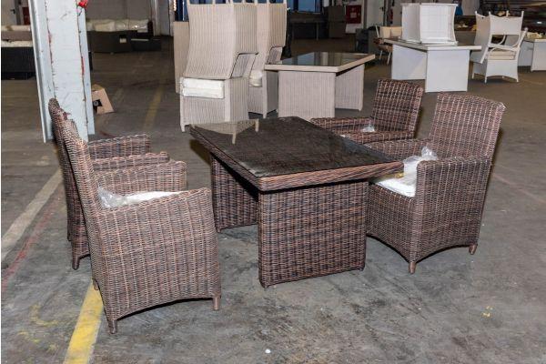 #HBM 2125: Tisch Fisolo + 4x Stuhl Fontana braunmeliert 5mm-braun-meliert