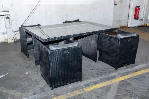 #HBM 2134: Tisch + 4x Sessel Maui schwarz anthrazit Flachrattan-schwarz-anthrazit