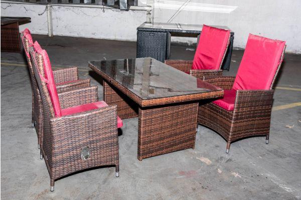 #HBM 2128: Tisch Fisolo + 4x Stuhl Sevilla braunmeliert rubinrot Flachrattan-braun-meliert-rubinrot
