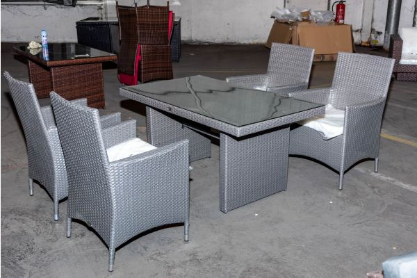 #HBM 2129: Tisch Fisolo + 4x Stuhl Avignon grau Flachrattan