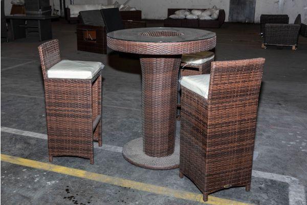 #HBM 2123: Tisch Mari L + 3x Barhocker Lenox braunmeliert cremeweiß Flachrattan