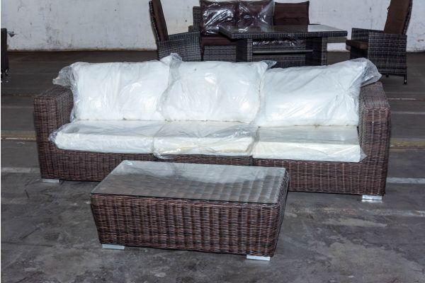 #HBM 2120: 3er Sofa Ariano bestehend aus 2x Seiten- und 1x Mittelelement mit Tisch Mandal 5mm-braun-meliert