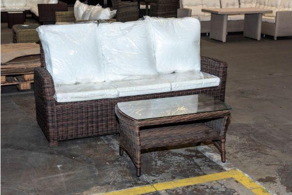 #HBM 2092: 3er Sofa Fisolo + Tisch Toledo braunmeliert 5mm-braun-meliert