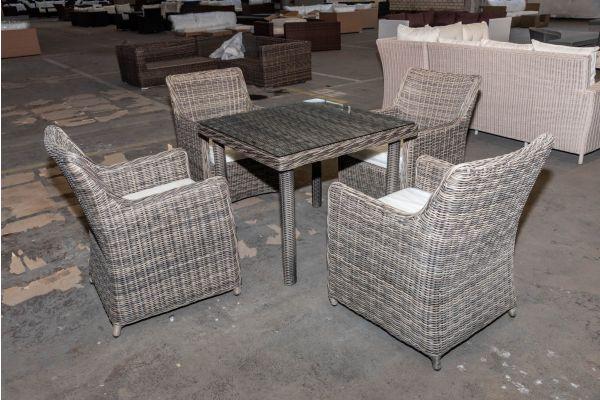 #HBM 2080: 4er Set Stuhl Sandnes mit Tisch San Juan 5mm-grau-meliert