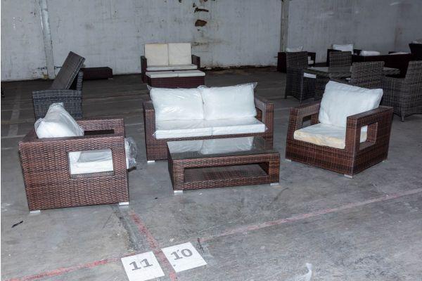 #HBM 2117: Sitzgruppe Honolulu bestehend aus 2 Sesseln, einem 2er Sofa und Tisch-braun-meliert