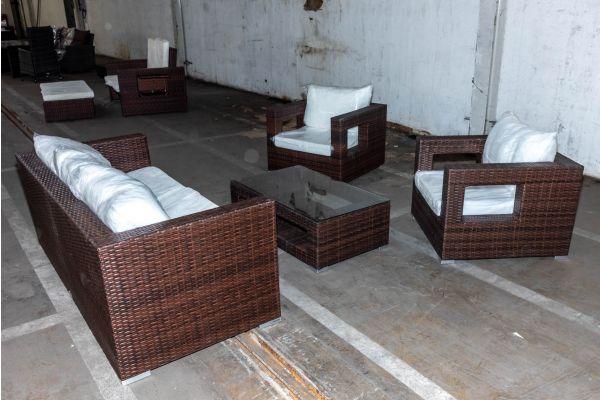 #HBM 2105: 3er Sofa Sorano + 2x Sessel + Tisch Honolulu braunmeliert Flachrattan