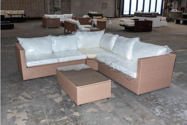 #HBM 2076: Sofa + Tisch Tibera sand Flachrattan
