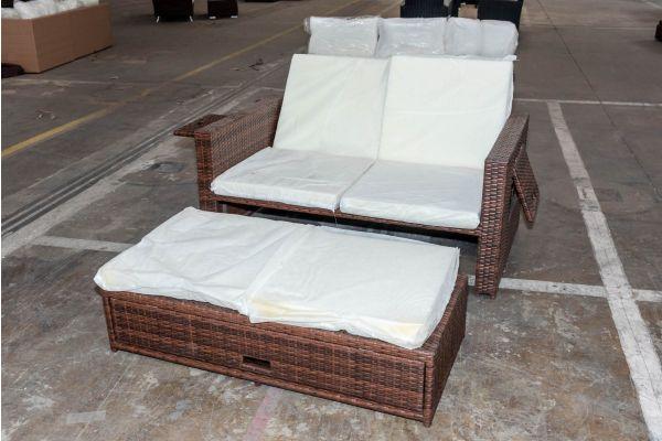 #HBM 2079: Sofa Ancona Flachrattan braunmeliert-braun-meliert-cremeweiß