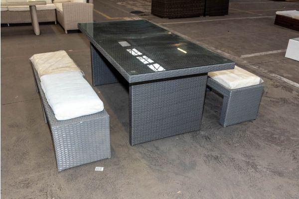 #HBM 2086: 2x Bank Coruna mit Tisch Avignon 180 Flachrattan grau