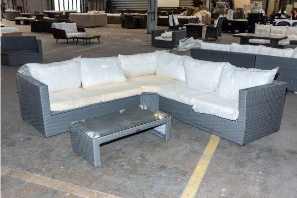 #HBM 2098: Garnitur Tibera mit Tisch Casablanca Flachrattan grau-grau
