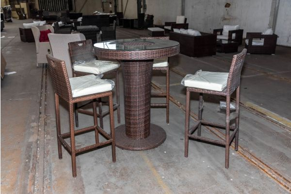 #HBM 2097: 4x Barhocker mit Tisch Mari L Flachrattan braunmeliert-braun-meliert-cremeweiß