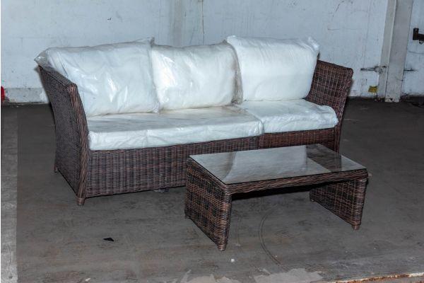 #HBM 2106: Sofa Santa Lucia mit Tisch Montero 5mm braunmeliert