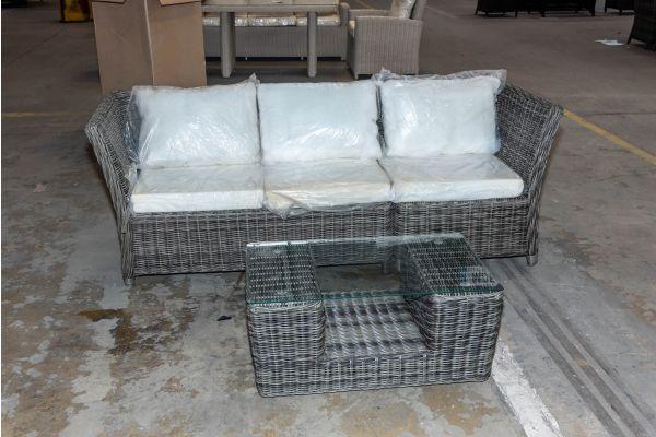 #HBM 2065: 3er Sofa bestehend aus 1 Seiten- und Eckelement Santa Lucia mit Tisch Moss 5mm