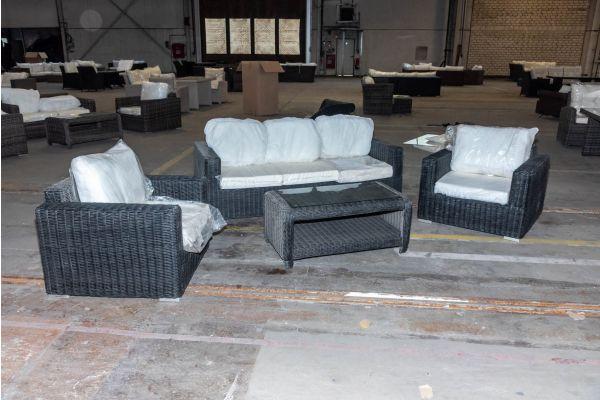 #HBM 2071: 3er Sofa/2x Sessel Madeira mit Tisch San Fernando 5mm schwarz-schwarz
