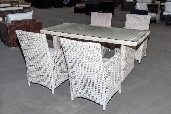 #HBM 2100: 4x Stuhl mit Tisch Fontana 180 5mm perlweiß-perlweiß