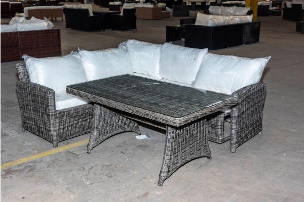#HBM 2075: Ecksofa mit Tisch Siena 5mm graumeliert-grau-meliert