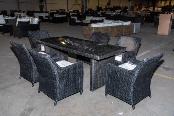 #HBM 2059: Sitzgruppe bestehend aus 6er Set Sessel Sandnes mit Tisch Fontana 200 5mm-schwarz