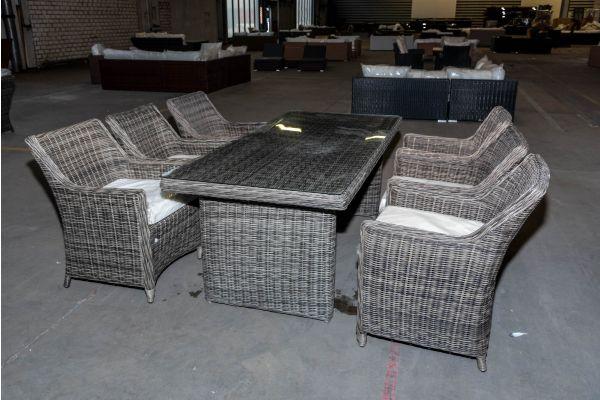 #HBM 2058: Sitzgruppe bestehend aus 6er Set Sessel Sandnes mit Tisch Fontana 200 5mm