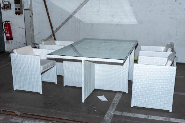#HBM 2094: 4x Stuhl mit Tisch Maui Flachrattan weiß