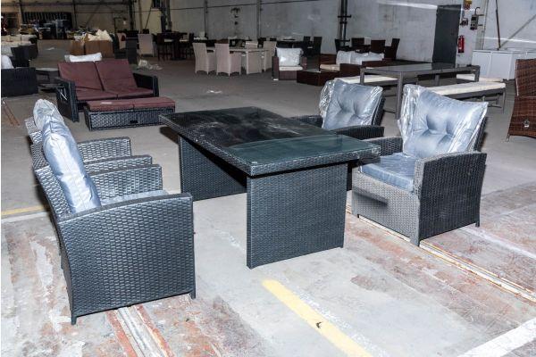 #HBM 2067: Sitzgruppe bestehend aus 4er Set Stuhl Fisolo mit Tisch Avignon 180-schwarz-eisengrau