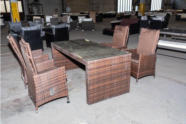 #HBM 2054: 4er Set Stuhl Sevilla mit Tisch Coruna-braun-meliert-terrabraun