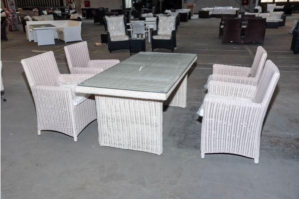 #HBM 2053: 4er Set Stuhl Fontana mit Tisch La Gomera 140 5mm-perlweiß