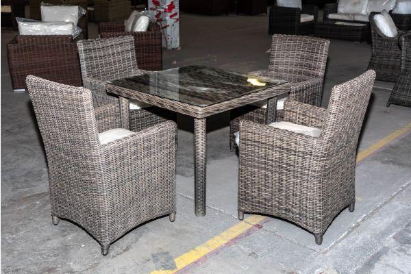 #HBM 2029: 4er Set Stuhl Fontana mit Tisch San Juan 90 5mm