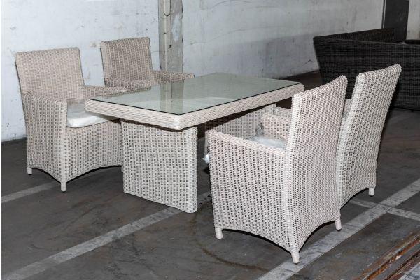 #HBM 2047: 4er Set Stuhl Fontana mit Tisch Fisolo 5mm-perlweiß