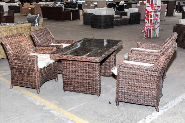 #HBM 2049: 4er Set Sessel Sandnes mit Tisch Fisolo 5mm-braun-meliert