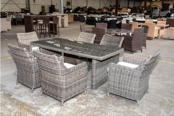 #HBM 2024: 6er Set Sessel Sandnes mit Tisch Fontana 200 5mm-grau-meliert