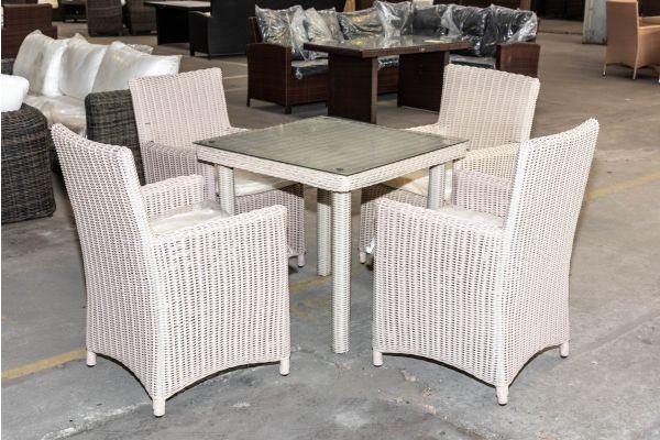 #HBM 2022: 4x Stuhl Fontana mit Tisch San Juan 80x80 5mm perlweiß