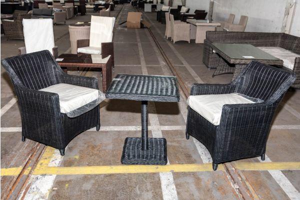 #HBM 2019: 2er Set Stuhl Sandnes mit Tisch Palermo 5mm-schwarz
