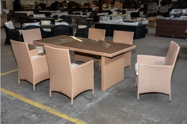 #HBM 2031: 6x Stuhl mit Tisch Avignon 200 Flachrattan sand