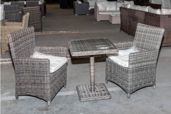 #HBM 2018: 2er Set Stuhl Fontana mit Tisch Palermo 5mm-grau-meliert