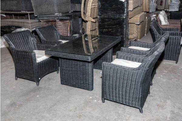 #HBM 1971: 4er Set Sessel Sandnes mit Tisch Fisolo 5mm-schwarz