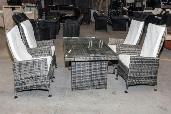#HBM 1972: 4er Set Stuhl Sevilla mit Tisch Fisolo-grau-meliert