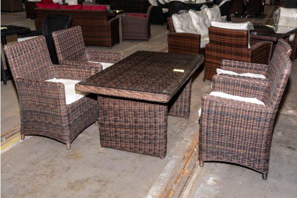 #HBM 1962: 4er Set Stuhl Fontana mit Tisch La Gomera 140 5mm-braun-meliert