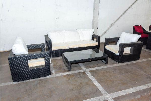 #HBM 1991: Garnitur Honolulu mit 3er Sofa und 2er Set Sessel mit Tisch Casablanca-schwarz