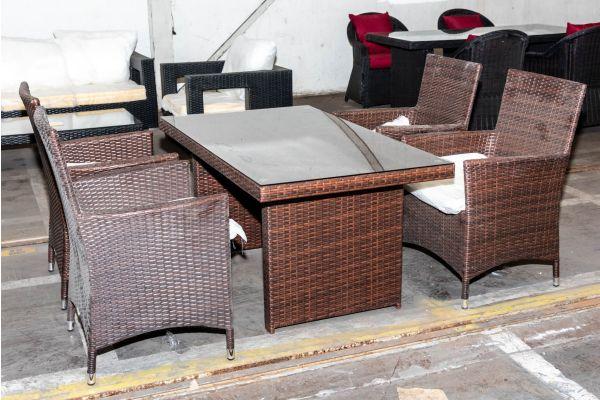 #HBM 1995: 4er Set Stuhl Julia mit Tisch Fisolo-braun-meliert