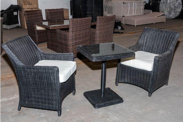 #HBM 1961: 2er Set Stuhl Sandnes mit Tisch Sankt Marlo 5mm-schwarz-cremeweiß