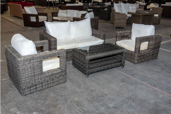 #HBM 1977: Garnitur bestehend aus 2er Sofa Madeira mit Tisch San Fernando und 2er Set Sessel Honolulu 5mm-grau-meliert