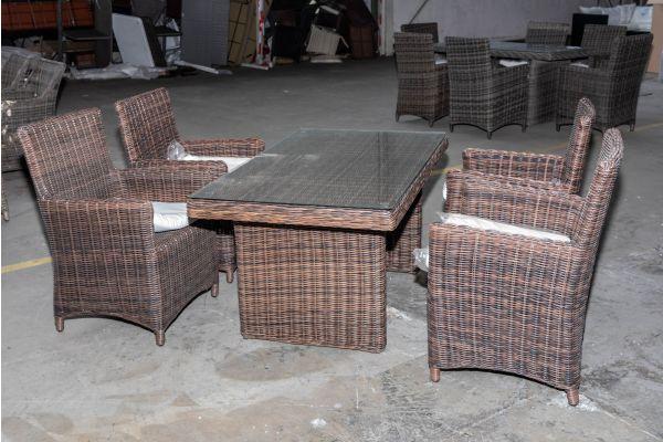 #HBM 2025: 4x Stuhl Fontana mit Tisch Fisolo 5mm braunmeliert
