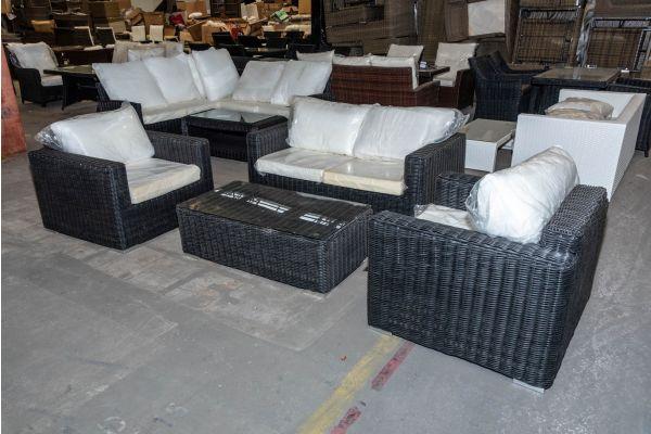 #HBM 1984: Sitzgruppe Madeira mit 2er Sofa und 2er Set Sessel mit Tisch Bilbao 5mm-schwarz